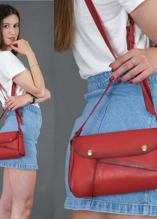 Женская сумка на плечо из натуральной кожи итальянский краст красная