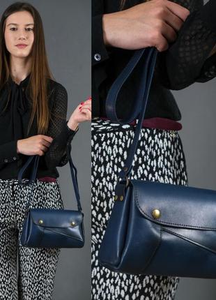 Женская сумка на плечо из натуральной кожи итальянский краст синяя