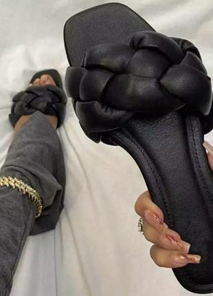 Сланцы женские с квадратным носком, пляжные шлепанцы, без застежки, плоская подошва, открытый носок