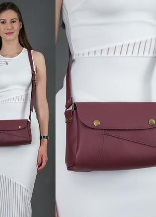 Женская сумка на плечо из натуральной кожи гранд бордовая