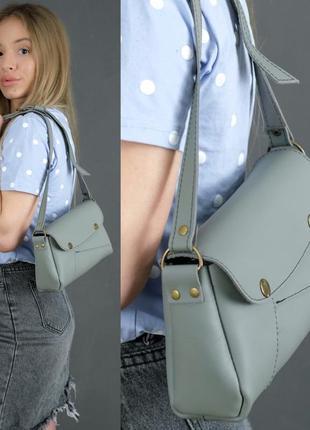 Женская сумка на плечо из натуральной кожи гранд серая