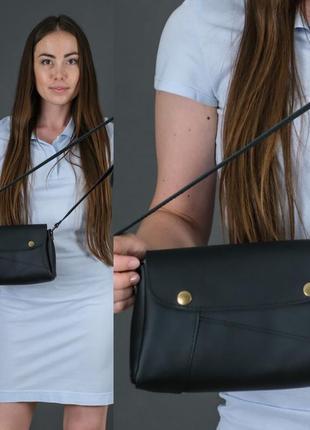 Женская сумка на плечо из натуральной кожи гранд черная