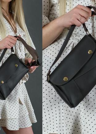 Женская сумка на плечо из натуральной кожи гранд шоколадная