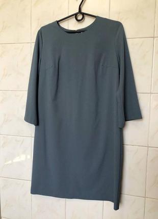 Голубое платье прямого кроя zara