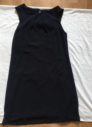 Синее платье шифоновое прямое классическое