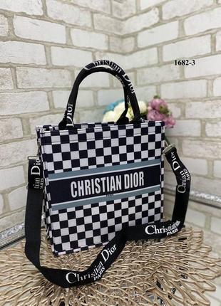 Модная сумочка шопер с лого в стиле диор dior