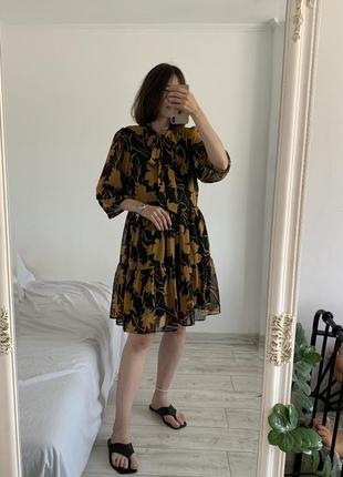 Ярусное платье в цветочный принт