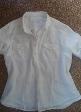 Крутая рубашка marks&spencer 100% лен