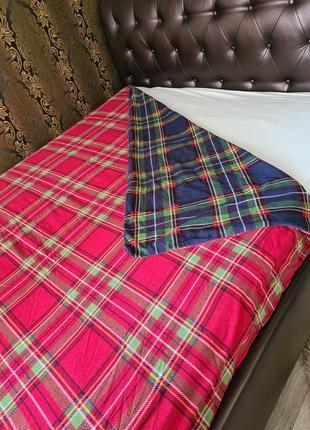 Двуспальный байковый постельный комплект двусторонний