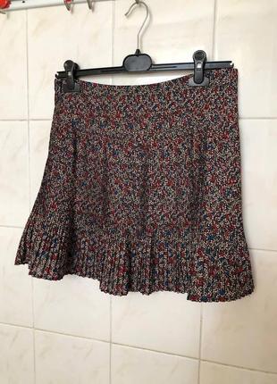Плиссированная юбка в цветочный принт zara
