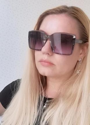 Эксклюзивные брендовые квадратные серые солнцезащитные женские очки 2021 окуляри7 фото