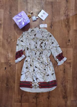 Новое с биркой дизайнерское женское платье danity paris бежевое женское платье рубашка лёгкое женское платье с принтом шифоновое женское платье