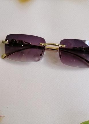 Эксклюзивные брендовые солнцезащитные женские очки с дужками декор леопарды 20214 фото