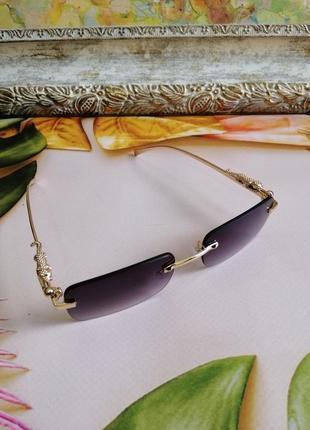 Эксклюзивные брендовые солнцезащитные женские очки с дужками декор леопарды 20213 фото