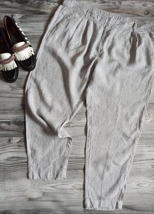 💯 льняные брюки 💎 в микровышивку батал лен от m&s