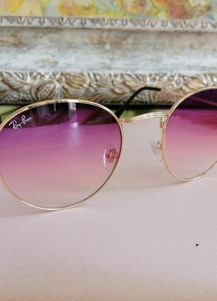 Стильные округлые солнцезащитные женские очки ray ban с градиентом 20214 фото