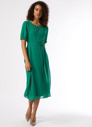 Шифоновое зеленое платье миди с короткими рукавами