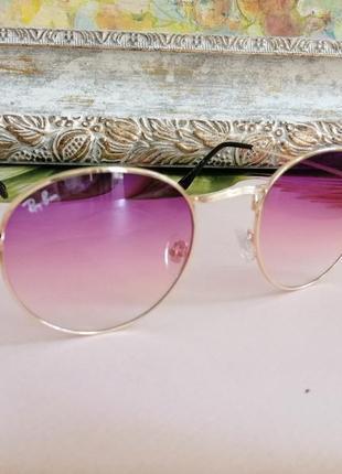 Стильные округлые солнцезащитные женские очки ray ban с градиентом 20213 фото