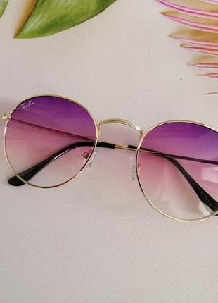 Стильные округлые солнцезащитные женские очки ray ban с градиентом 20215 фото