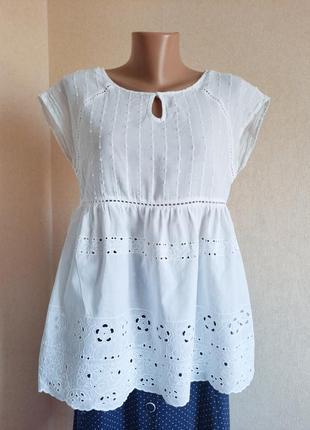Блуза marks&spencer белая батист прошва хлопопк блузка блузон футболка туника кружево мереживо біла бавовна хлопковая беременным