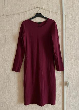 Платье-миди бургунди