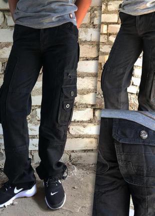 Подростковые джинсы-карго на мальчика