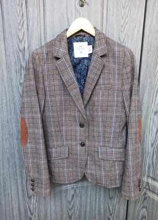 Женский твидовый пиджак h&m шерсть английский стиль