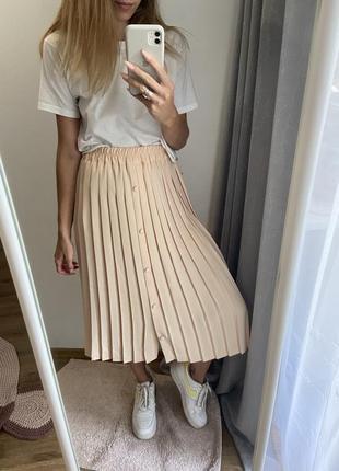 Длинная юбка плиссе плиссированная юбка миди