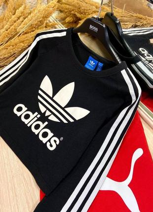 Лонгслив adidas originals с большим лого, оригинал🔝🔥