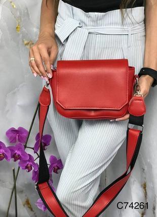 Червона сумочка клатч