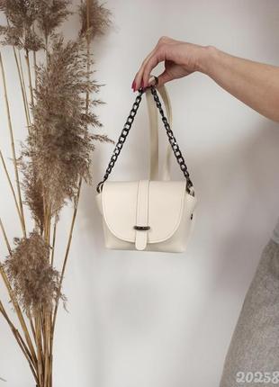 Кремовая женская сумочка, клатч женский, кремовий клатч, жіноча сумка на плече
