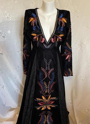 Винтажное невероятно красивое ажурное велюровое платье с цветной вышивкой вышиванка этно бохо