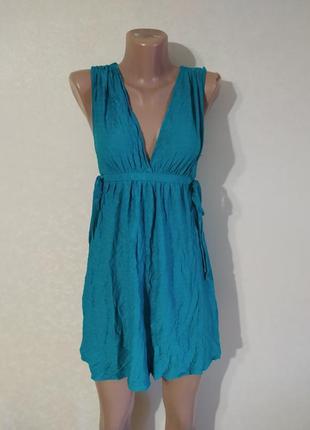 Платье мини миди короткое легкое сарафан красивое вискоза зеленое изумрудное