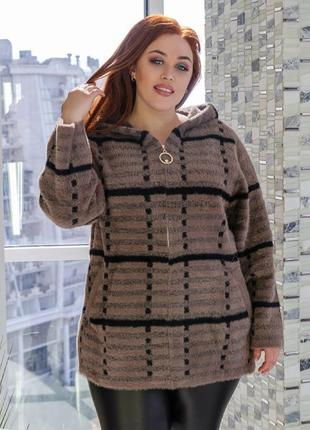 Женская куртка на змейке с капюшоном натуральная альпака