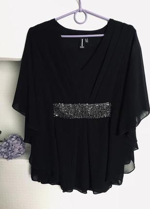 Черная блуза с бусинами шифоновая нарядная блузка с резинкой на талии