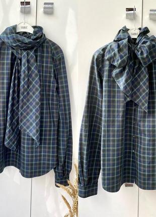 Свободная рубашка в клетку с бантом, клетчатая рубашка polo ralph lauren