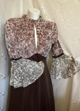 Экслюзив винтажное платье макси рукава рюши в пол richard shops англия