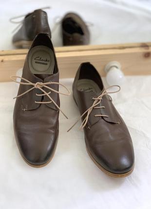 Кожаные туфли clarks стелька 28см