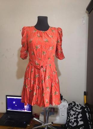 Платье мини в цветы