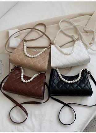 Новая женская сумка «бренда» кожаная стёганная белая сумочка багет с жемчугом