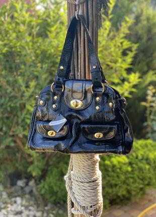 Шикарная женская сумка из натуральной лакированной кожи russell bromley
