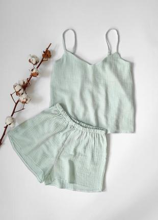 Муслиновая пижама мятного цвета