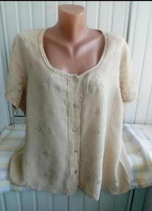 Вискозная блуза рубашка с вышевкой большого размера батал,