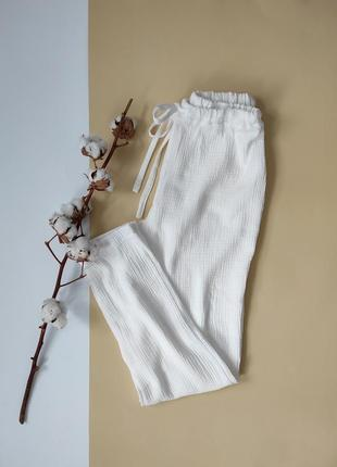 Белые муслиновые штаны женские