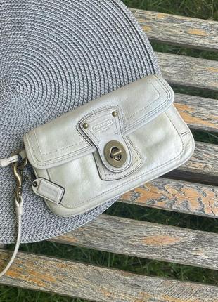 Клатч сумка кошелёк на руку coach из натуральной кожи