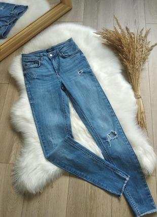 Сині джинси skinny повсягденні рвані джинси на високій посадці з необробленими краями стрейчиві на підлітка xs s 25 26 27