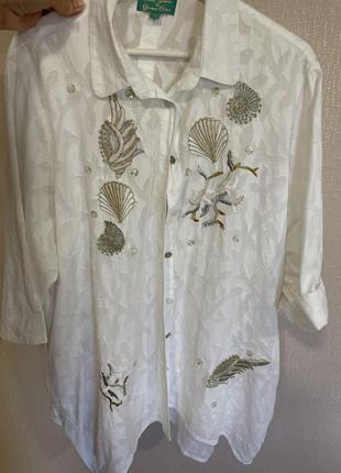 Рубашка блуза туника белая хлопковая оверсайз на пляж