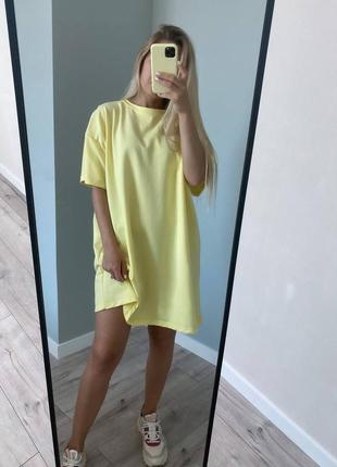 Платье-футболка, свободного кроя, из натуральной хлопковой ткани💛