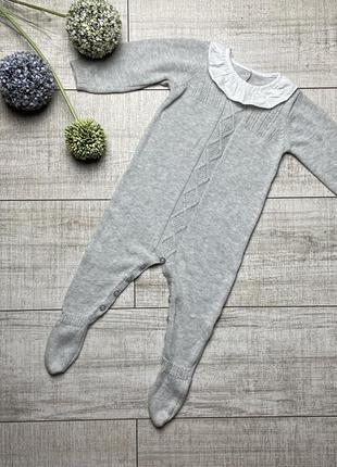Красивый серый вязаный ромпер человечек комбинезон matalan 68 3-6