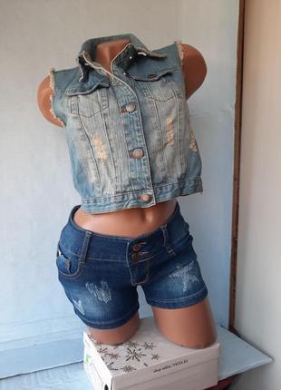 Жилетка женская джинсовая,  накидка